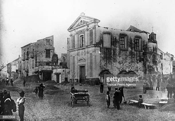 The aftermath of an earthquake at Reggio in the Catania province of Sicily