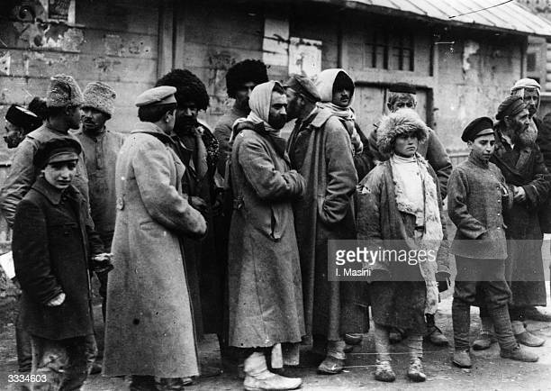 A group of Russian refugees at Tiflis railway station during the Russian Civil War