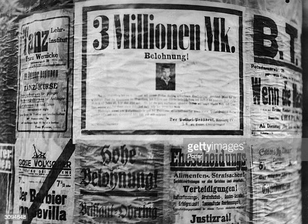 A poster in Germany offering a three million mark reward for the capture of a criminal The figure of three million is a sign of the hyperinflation in...