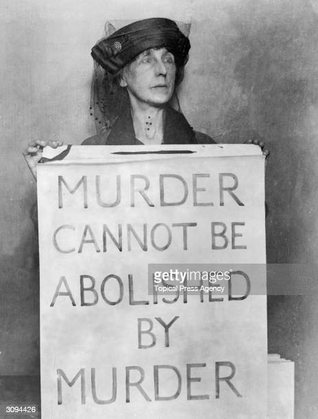 Mrs Cole outside Holloway Prison protesting against the death penalty