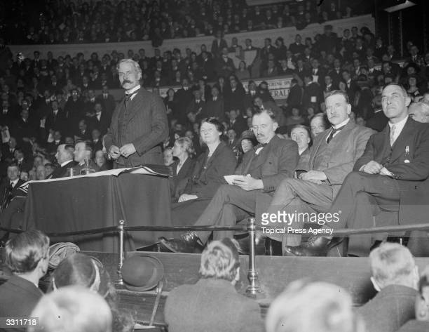 Prime Minister Ramsay MacDonald and MPs Margaret Bondfield M H Thomas and Robert Smillie at the Labour Victory meeting at the Royal Albert Hall in...
