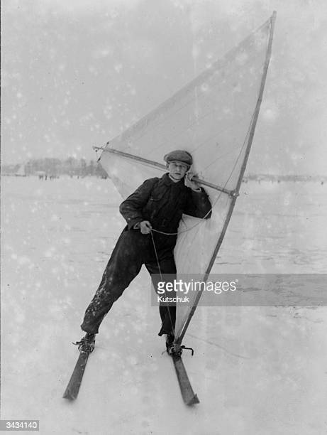 A man sails on skis on a lake near Berlin