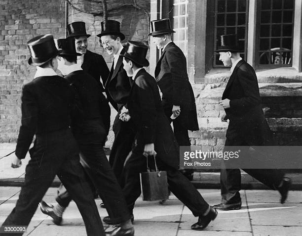 The Hon Gerald Lascelles 2nd son of the Princess Royal with a gang of boys at Eton College