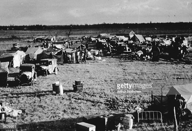 A camp of evicted sharecroppers on the spillway between the levee and the Mississippi River in New Madrid County Missouri