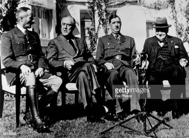 General Henri Giraud President Franklin Delano Roosevelt General Charles de Gaulle and Winston Churchill at the Casablanca Conference