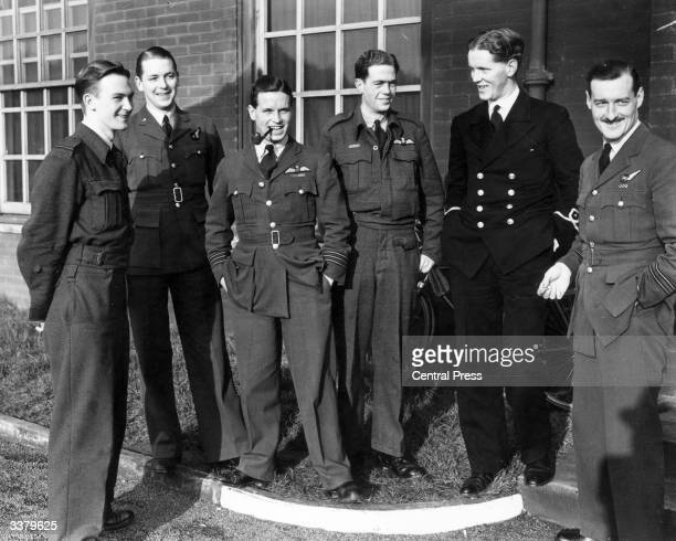 Wing Commander Guy Gibson and members of his Lancaster bomber air crew after a bombing raid on Berlin Gibson later led the 'Dambusters' raid