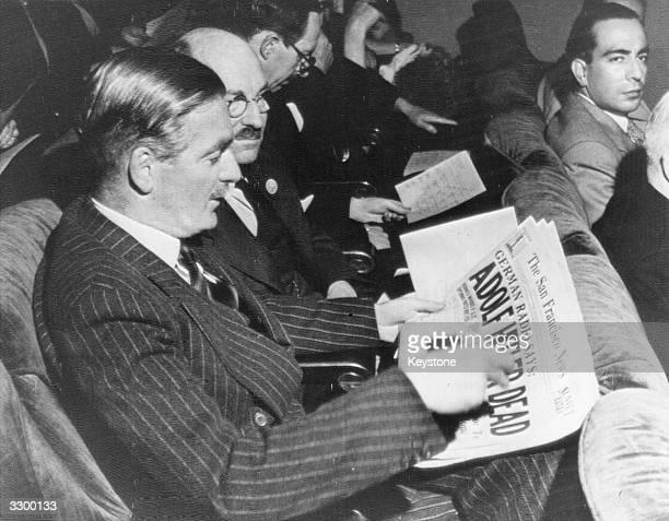 Sir Anthony Eden, British statesman, Foreign Secretary, Chairman of the British Delegation to the United Nations, reading newspaper headlines...