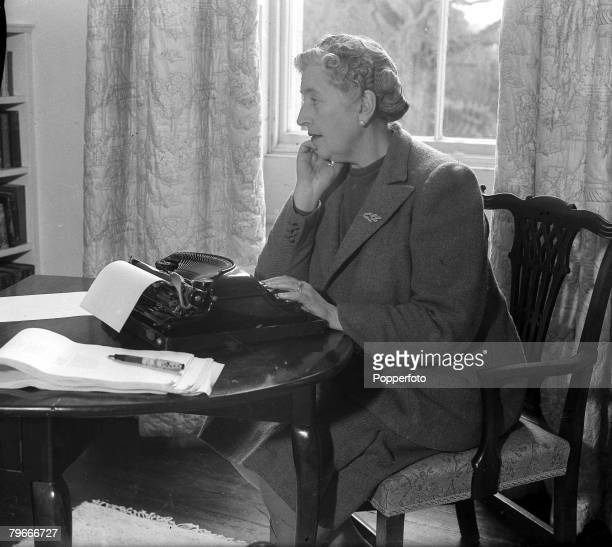 January 1946 British Crime Author Agatha Christie at work in her Devonshire home Greenway House
