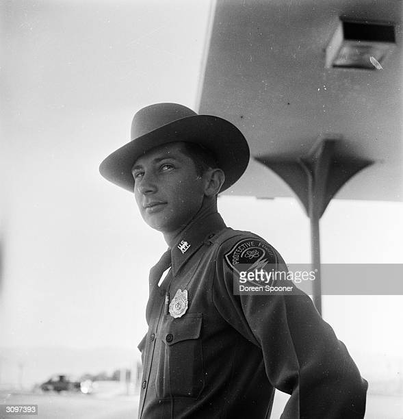 A policeman in Los Alamos New Mexico the site of Atom bomb tests