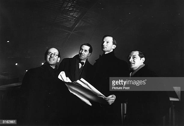 From left to right, Misha Black, James Holland, Ralph Tubbs and Hugh Casson, the architects and designers who are responsible for the overall plan of...