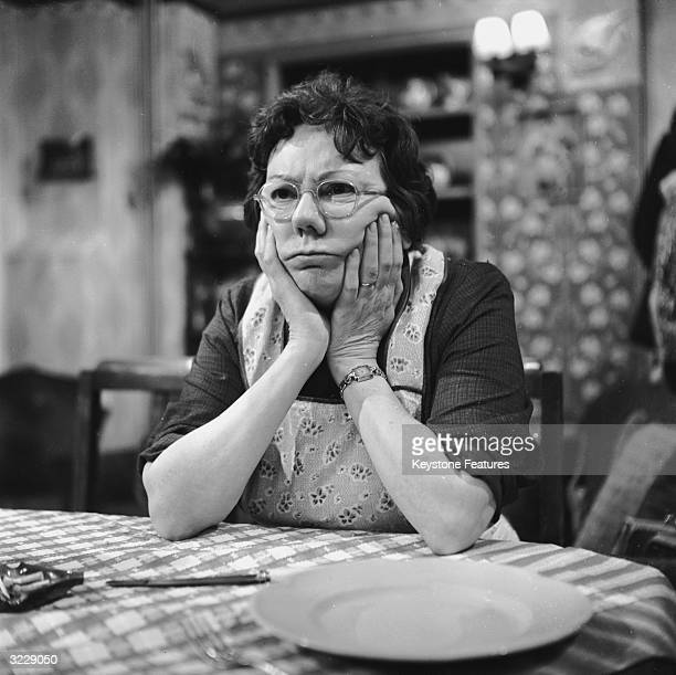 English actress Dandy Nichols during rehearsals for the television series 'Till Death Us Do Part', where she plays the character of Else Garnett, the...