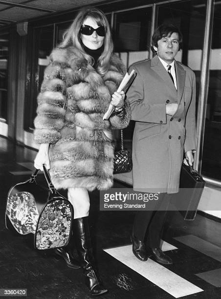 Polish filmmaker and actor Roman Polanski with his second wifetobe Sharon Tate at London Airport