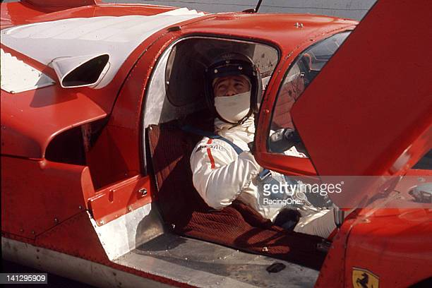 Mario Andretti gets set to take a Ferrari 512S out for some practice laps prior to the 24 Hours of Daytona at Daytona International Speedway Andretti...