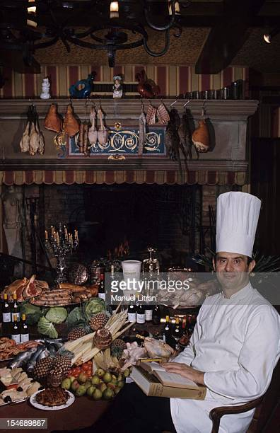 January 1973 the great chef Paul Bocuse at his restaurant 'L'Auberge du Pont de Collonges' has CollongesauMontd'Or Cap of the hat he asks sitting at...