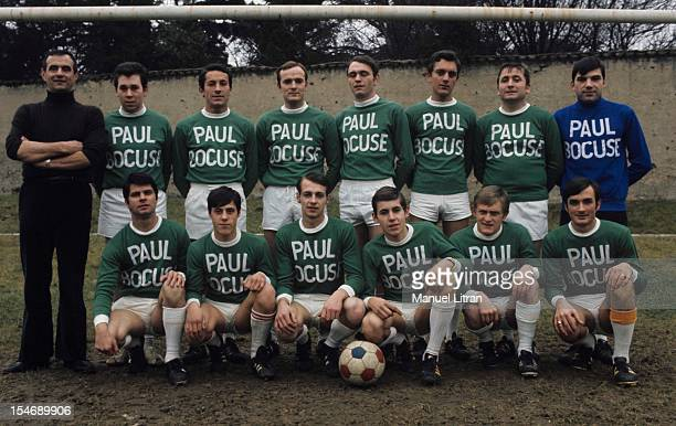 January 1973 the great chef Paul Bocuse poses with a team of football players wearing jerseys to his name