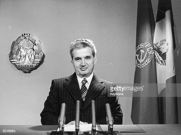 Romanian dictator Nicolae Ceausescu delivers his televised New Year's message to the people of Romania