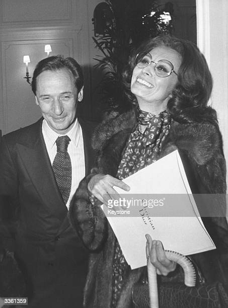 Italian actress Sophia Loren in Paris with Dior stylist Marc Bohan to help the fashion house Christian Dior with the launch of the Autumn Summer...