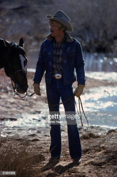 Rugged actor Robert Redford in Utah to film the western romance 'The Electric Horseman' directed by Sydney Pollack