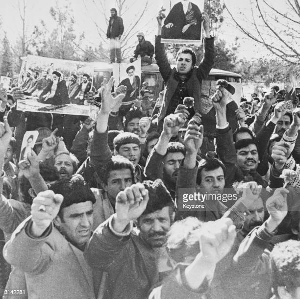 Thousands of the Ayatollah Khomeini's supporters on the streets of Tehran calling for the religious leader's return