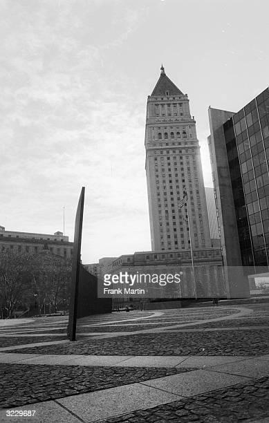 'Tilted Arc', a 120 ft-long steel sculpture by Richard Serra divides Federal Plaza in Lower Manhattan, New York.