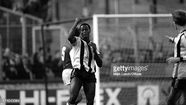 22 January 1983 Football League Division One Notts County v Arsenal Justin Fashanu celebrates after scoring the winning goal for County The result...