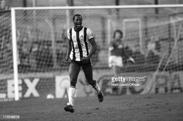 22 January 1983 Football League Division One Notts County v Arsenal Justin Fashanu celebrates after scoring the winning goal for County in front of a...