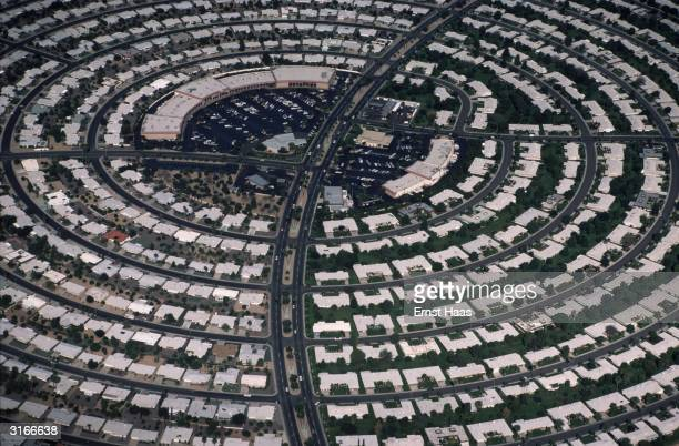 Rows of suburban houses set in a circular plan in Sun City Phoenix Arizona