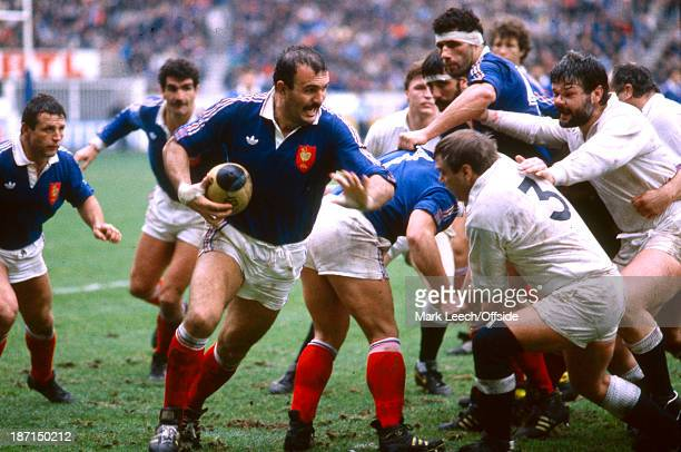 16 January 1988 Rugby Union Five Nations Tournament France v England Laurent Rodriguez charges around the blind side after the scrum