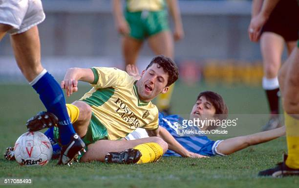 22 January 1989 Football League Division Two Millwall v Norwich City Andy Townsend of Norwich tackles Darren Morgan of Millwall