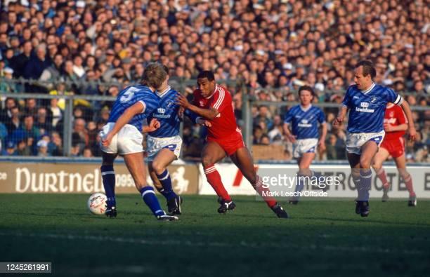 January 1989 London - FA Cup 4th round - Millwall v Liverpool - John Barnes runs through the Millwall defence.