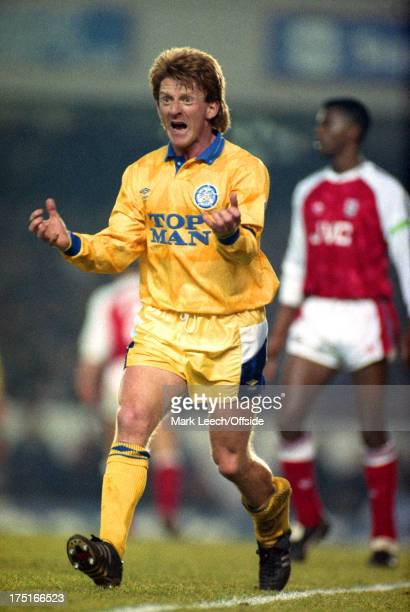 27 January 1991 FA Cup football Arsenal v Leeds United Gordon Strachan of Leeds loses his temper and shouts in anger at a decision by the referee