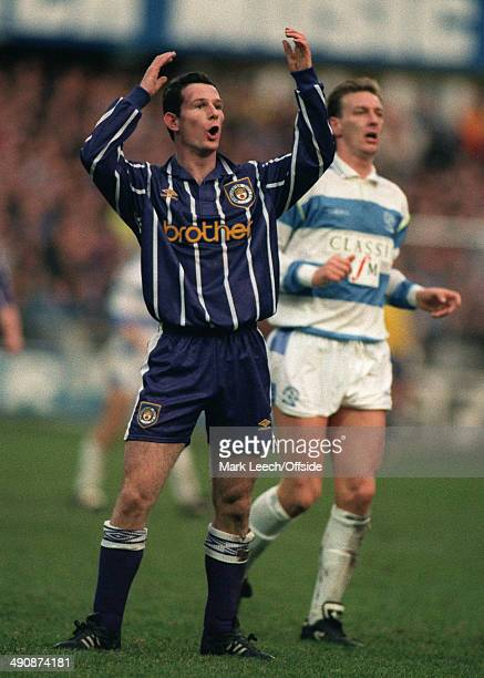 23 January 1993 FA Cup 4th round Queens Park Rangers v Manchester City Mike Sheron of City watches as his shot goes narrowly wide of the Rangers goal