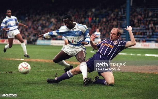 23 January 1993 FA Cup 4th round Queens Park Rangers v Manchester City Steve McMahon of City tackles Clive Wilson of Rangers
