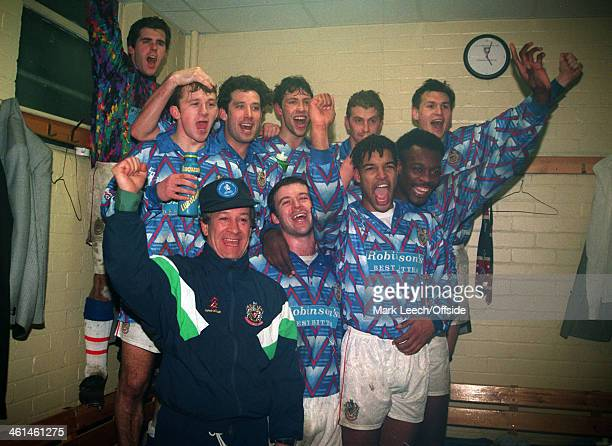 January 1994 FA Cup 3rd Round Football - Stockport County v Queens Park Rangers , Stockport manager Danny Bergara celebrates victory over QPR with...