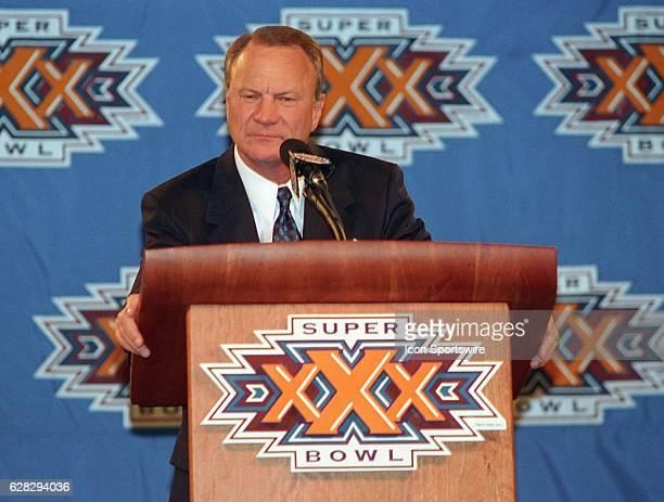 Barry Switzer of the Dallas Cowboys before Super Bowl XXX that the Dallas Cowboys won by the score Dallas 27 Pittsburgh 17 at Sun Devil Stadium in...