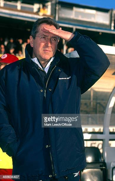 03 January 1999 FA Cup 3rd Round Port Vale v Liverpool Liverpool manager Gerard Houllier shields his eyes from the sun