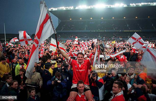 30 January 1999 Ulster captain David Humphreys is lifted by his teammates after their side's victory Heineken European Cup Final Ulster v Colomiers...