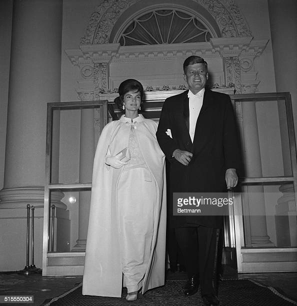 January 20 1961 Washington DC Fulllength shot of President and Mrs John F Kennedy as they left the White House to attend a series of inaugural balls...