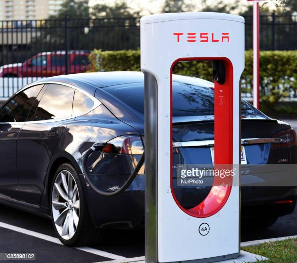 January 20 2019 Altamonte Springs Florida United States A Tesla electric car is seen parked at a charging station in Altamonte Springs Florida on...