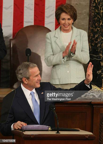 January 2000 CREDIT Rich Lipski / TWP WASHINGTON DC President George W Bush delivers the State of the Union to the nation Left to right Vice...