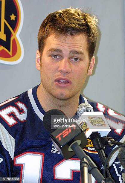Tom Brady of the New England Patriots during Media Day the week of SUPER BOWL XXXVIII that was played at Reliant Stadium in Houston Texas