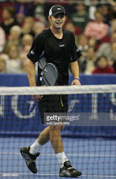 Andy Roddick against Tommy Haas during the Serving for Tsunami Relief tennis match at Toyota Center in Houston Texas Tennis Champion's Jim Courier...