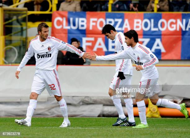 David Bekham Kaka and Pato of AC Milan celebrate during the 'Serie A' 20082009 match round 20th between Bologna and Milan at the 'Dallara' stadium in...