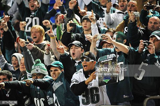 Philadelphia Eagle fans whoop it up after their Eagles beat the Minnesota Vikings 2416 in their NFC playoff game at the Hubert H Humphrey Metrodome...