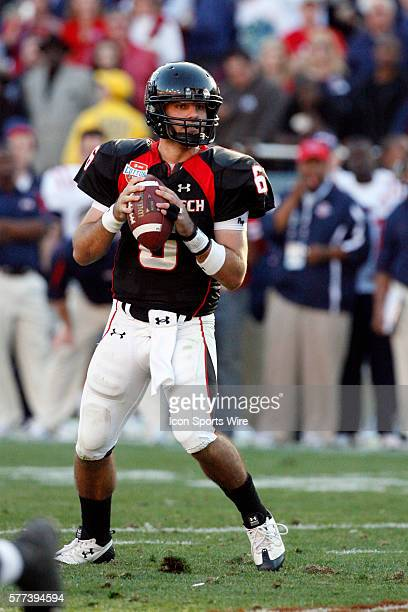 Texas Tech quarterback Graham Harrell looks for an open receiver. Harrell passed for 364 yarss and had 4 touchdowns in the game. The Ole Miss Rebels...