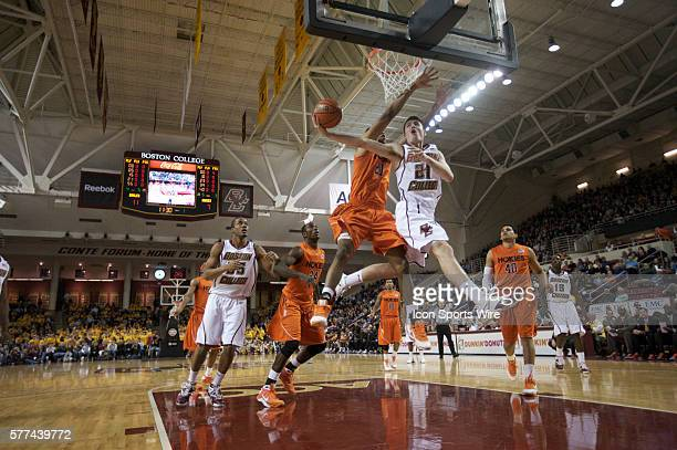 Tyler Roche attempts a shot in the Boston College game against Virginia Tech at Conte Forum in Boston Massachusetts