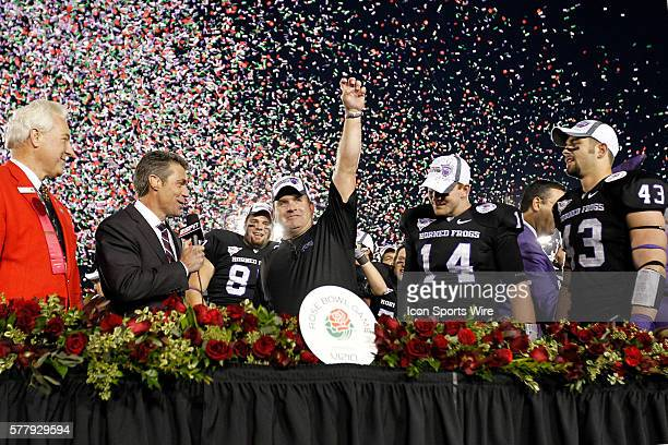 TCU Horned Frogs head coach Gary Patterson TCU Horned Frogs quarterback Andy Dalton and TCU Horned Frogs linebacker Tank Carder during the NCAA...