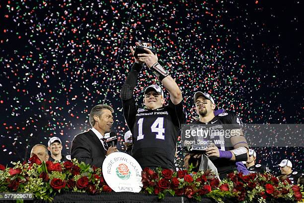 TCU Horned Frogs quarterback Andy Dalton and TCU Horned Frogs linebacker Tank Carder during the NCAA Football 97th Rose Bowl Game presented by VIZIO...
