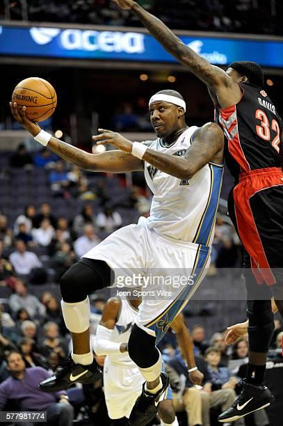 Washington Wizards power forward Andray Blatche in action against Toronto Raptors power forward Ed Davis at the Verizon Center in Washington DC where...