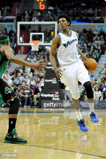 Washington Wizards shooting guard Nick Young in action against the Boston Celtics at the Verizon Center in Washington DC where the Washington Wizards...